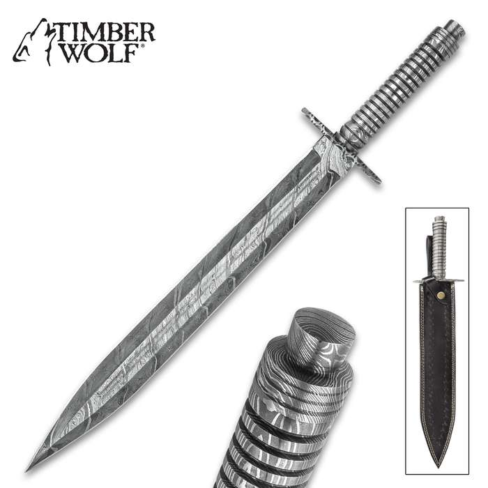 """Timber Wolf Mesopotamia Fixed Blade Long Knife - Damascus Steel Blade, Stacked Handle, Fileworked Handguard - Length 20"""""""