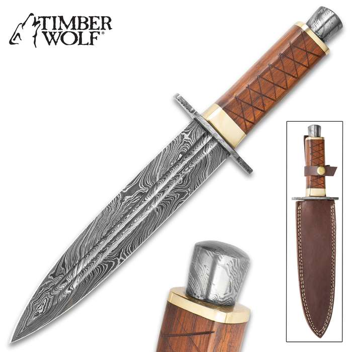 """Timber Wolf King's Realm Dagger - Damascus Steel Blade, Wooden Handle, Damascus Pommel And Guard, Brass Accents - Length 14"""""""