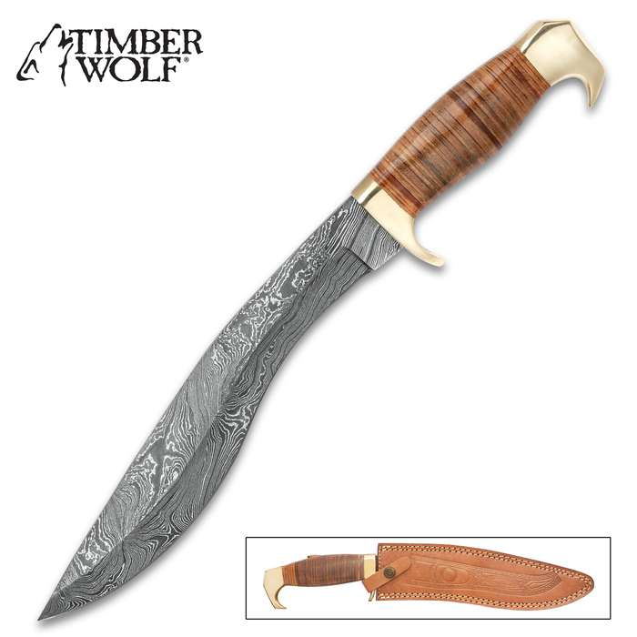 Uncommon Valor Damascus Kukri and Leather Sheath
