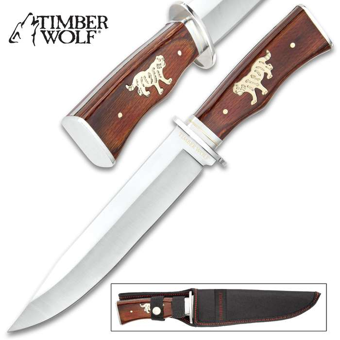 Timber Wolf Roaring Tiger Knife With Sheath - Stainless Steel Blade, Full-Tang, Wooden Handle - Length 12""
