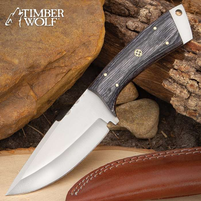 """Timber Wolf Grayback Knife With Sheath - Stainless Steel Blade, Filework, Wooden Handle Scales, Brass Pins - Length 9"""""""