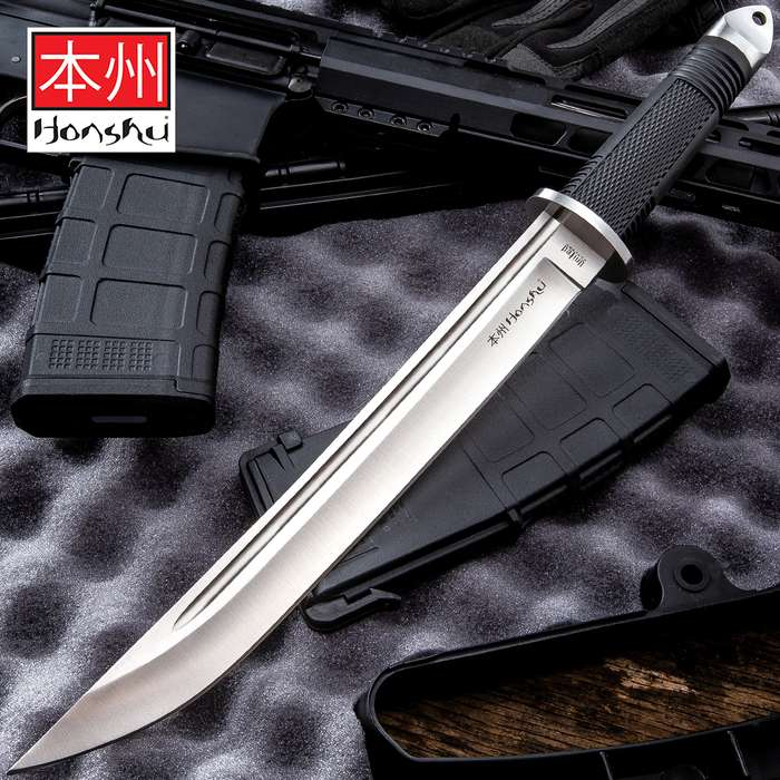 United Cutlery Honshu Tanto Knife And Leather Sheath - Stainless Steel Blade, TPR Handle, Stainless Steel Guard And Pommel