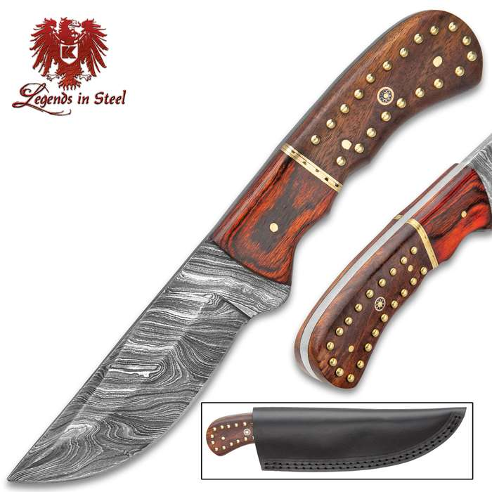 Legends in Steel Damascus Crusader Knife with Genuine Leather Sheath