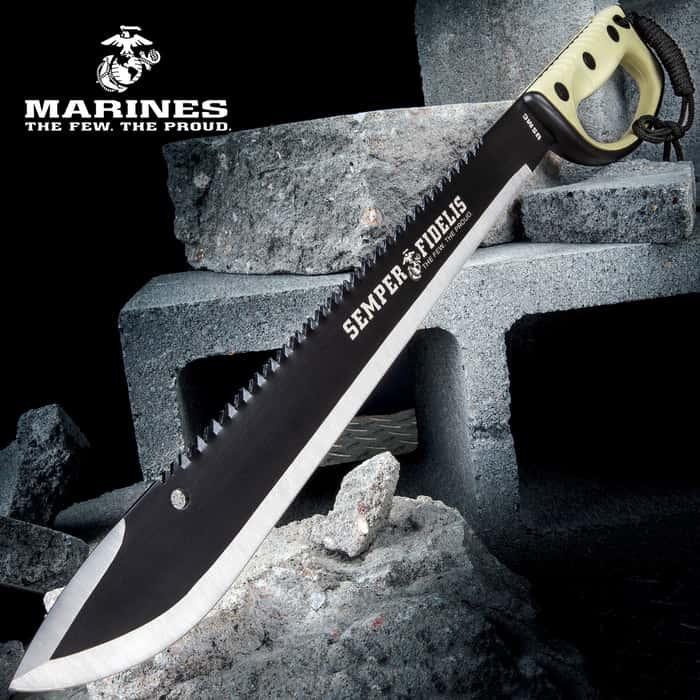 "USMC Semper Fi Sawback Machete Knife With Sheath - Stainless Steel Blade, Rubberized Injection-Molded Handle - Length 24"""