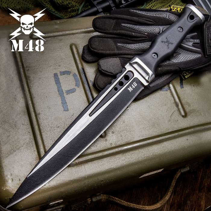 M48 Highland Scottish Dirk With Sheath - Cast Stainless Steel Blade, Black Oxide Coated, TPR Handle, Stainless Steel Pommel And Guard, Lanyard Hole - Length 15 1/8""