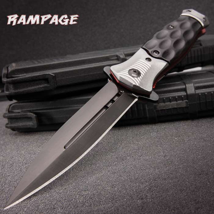 """Rampage Bloodsport Stiletto Knife - Assisted Opening Folder / Pocket Knife - Anodized Stainless Steel - Aluminum Handle - Sleek Contemporary Style - Liner Lock, Blade Spur, Pocket Clip & More - 4 1/2"""""""