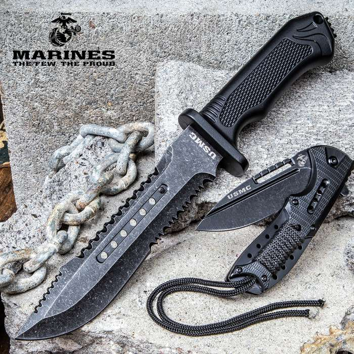 USMC Brotherhood Two-Piece Set With Sheath - Officially Licensed, 3Cr13 Stainless Steel Blades, Polymer Handles
