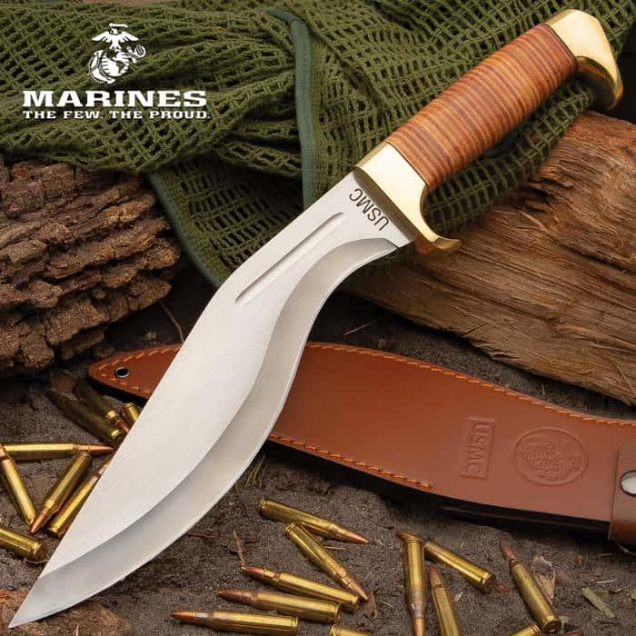 """USMC Stacked Leather Handle Kukri Knife - Stainless Steel Blade, Stacked Leather Handle, Brass Pommel - Length 16 1/2"""""""
