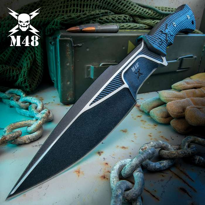 M48 Liberator Sabotage II Combat Knife With Sheath - Cast Stainless Steel, Black Oxide Coating, Layered G10 Handle - Length 13 1/2""