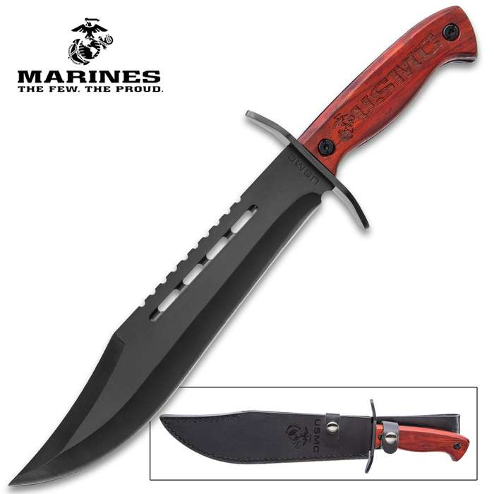USMC Bowie Knife With Sheath - Stainless Steel Blade, Marines Themed Etches, Wooden Handle Scales - Length 14 1/2""