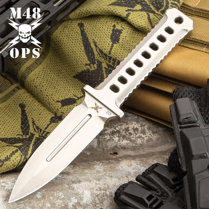 M48 OPS Combat Dagger With Sheath - CNC Machined D2 Tool Steel, Satin Finish, Perforated Handle - Length 8 3/4""