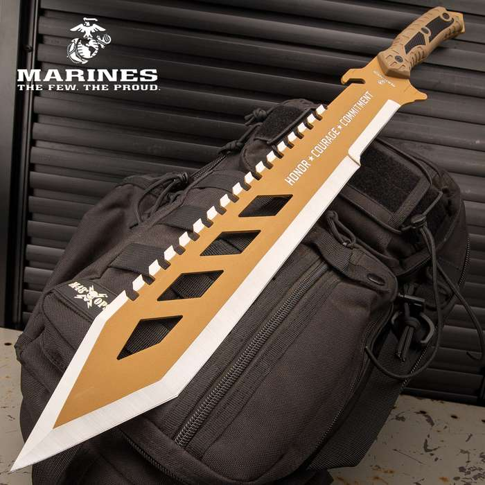 """USMC Desert OPS Sawback Machete With Sheath - Stainless Steel Blade, Non-Reflective Coating, ABS Handle - Length 24"""""""