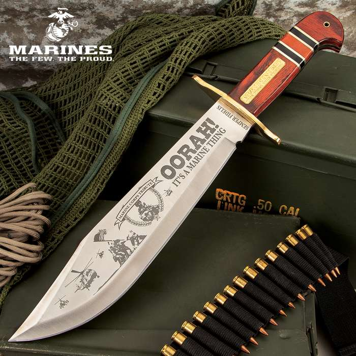 """USMC Commemorative Bowie Knife - 3Cr13 Stainless Steel Blade, Wooden Handle, Gold-Plated Medallion, Lanyard Hole - Length 16"""""""