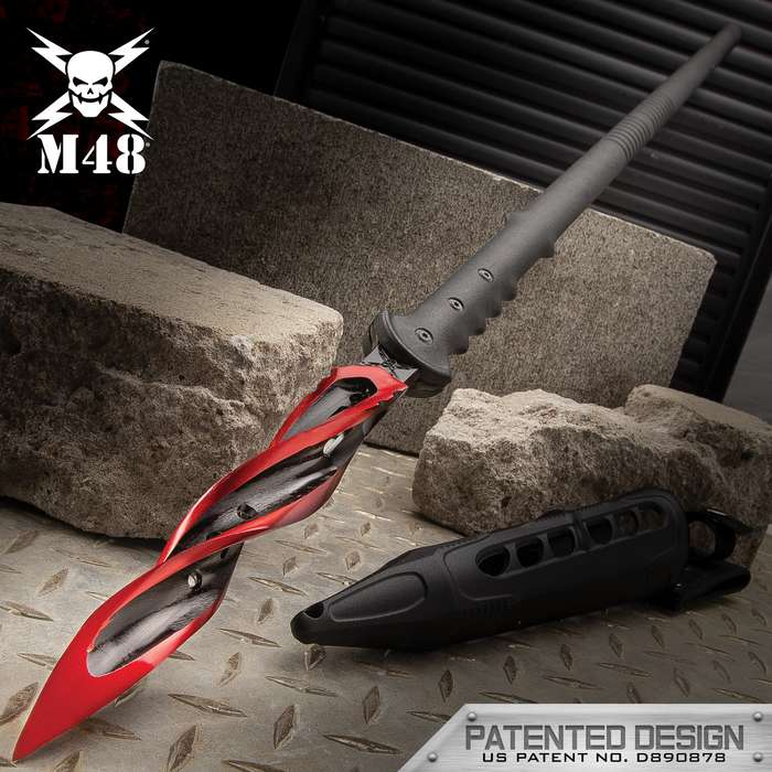 """M48 Cardinal Sin Cyclone Spear With Vortec Sheath - Cast Stainless Steel Blade, Reinforced Nylon Handle - Length 48 7/8"""""""