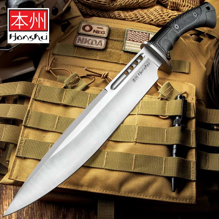 "Honshu Boshin Toothpick Knife With Sheath - 7Cr13 Stainless Steel Blade, Contoured TPR Handle, Lanyard Hole - Length 18 3/4"""
