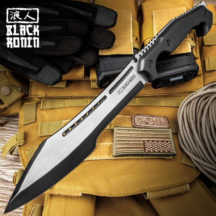 """Black Ronin Stealth Machete And Sheath - Stainless Steel Blade, Black And Satin Finish, Wooden Handle - Length 16"""""""