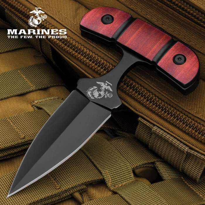 """USMC Push Dagger And Sheath - Stainless Steel Blade, Non-Reflective Finish, TPU Stacked Handle, 3-D Printed - Length 5 1/2"""""""