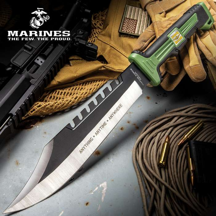 """USMC Marine Force Recon Jungle Operator Bowie Knife And Sheath - Stainless Steel Blade, Sawback Serrations, Rubberized Handle - Length 15 1/2"""""""