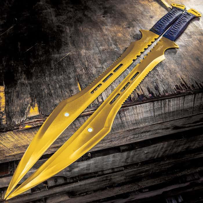 "Gold Ninja Samurai Machete Set With Sheath - One-Piece Stainless Steel Construction, Nylon Wrapped Handles - Length 26 3/4"""
