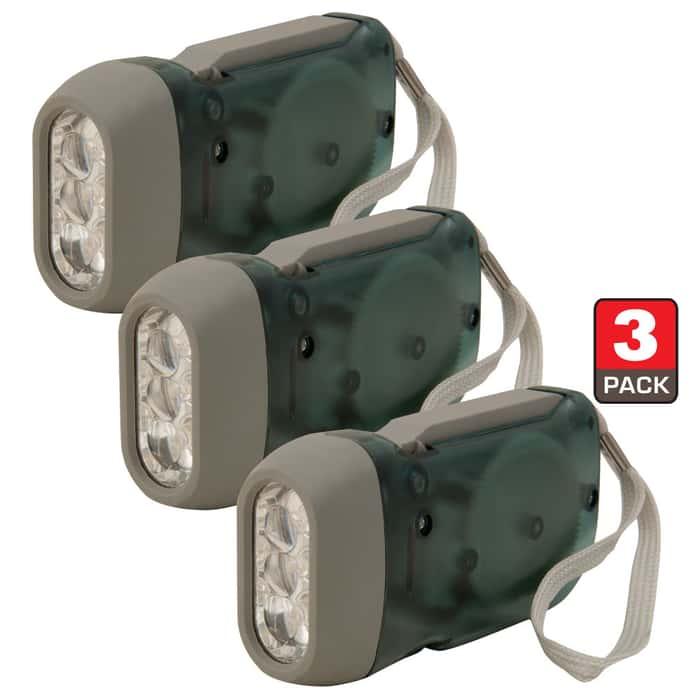 Trailblazer 3-LED Dynamo Hand Crank Flashlight - Three-Pack