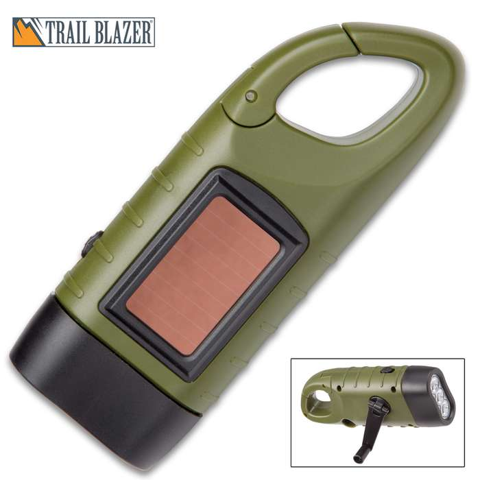 """Trailblazer Hand Crank Flashlight With Solar Panel - Three LED Lights, TPU and TPR Construction, Built-In Carabiner - Dimensions 5""""x 2"""""""