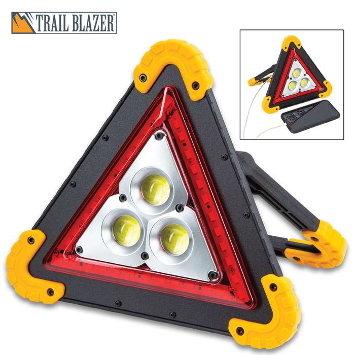 """Trailblazer Vehicle Emergency And Utility Light - COB Lights, Red LEDs, USB Port, USB Cable Included, Adjustable Handle - 7 3/4""""x 8 1/4"""""""