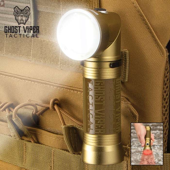 Ghost Viper Tactical Tan Swivel Head Flashlight - Aluminum And Rubber Construction, COB And LED Lights, Magnetic Base, Belt Clip
