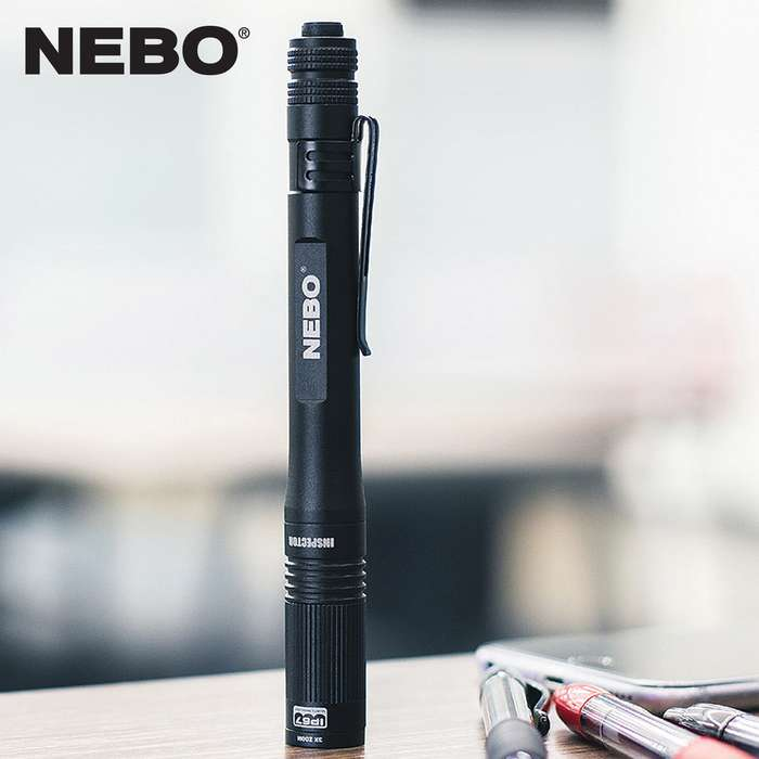 The NEBO Inspector RC Black Pocket Light is a powerful 360-lumen rechargeable pen light