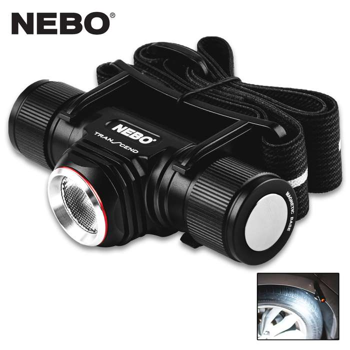 The NEBO Transcend is a powerful, rechargeable, LED headlamp and flashlight that features a 1,000-lumen Turbo Mode