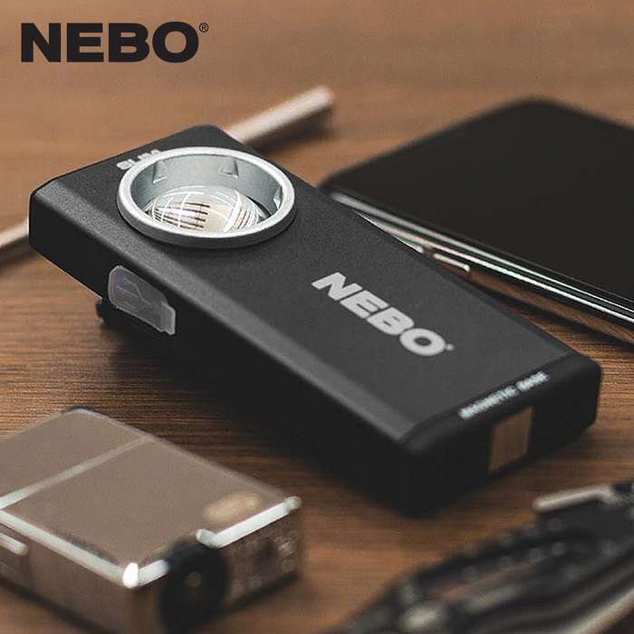 The NEBO Slim Rechargeable Pocket Light is a thin, ergonomic pocket light that outputs 500 lumens of intense bright light