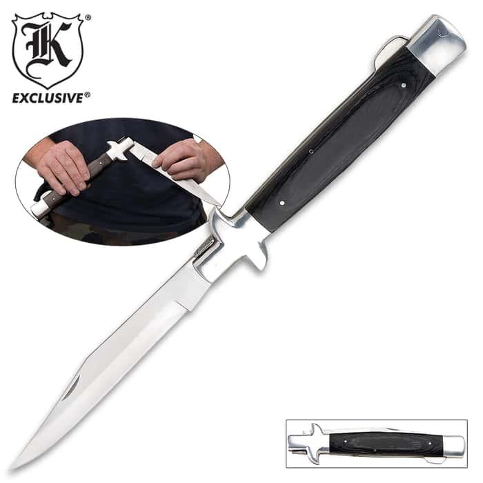 """""""18"""""""" Gray Wood Monster Stiletto Folding Knife"""""""