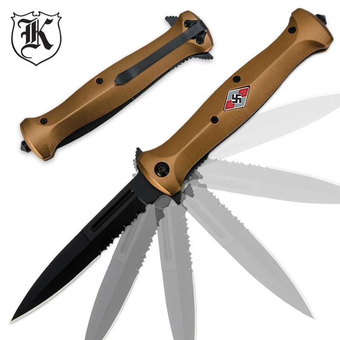 German Youth Brown Assisted-Open Folding Knife