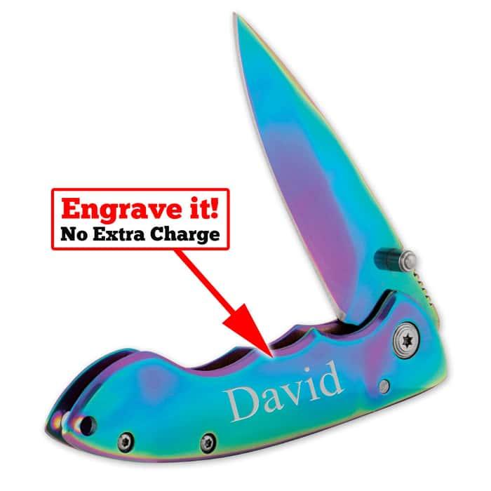 Personalized Rainbow Pocket Knife