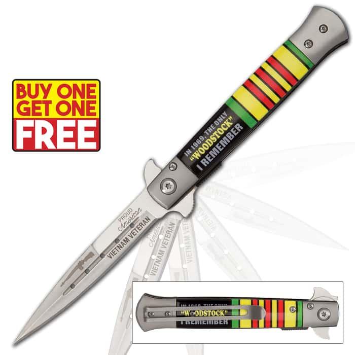 The Only 'Woodstock' I Remember... Vietnam Veteran Assisted Opening Stiletto Knife - BOGO