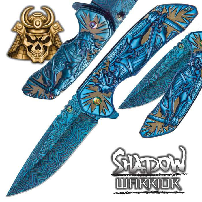 Shadow Warrior Assisted Opening Pocket Knife | DamascTec Steel Blade | Blue And Rainbow