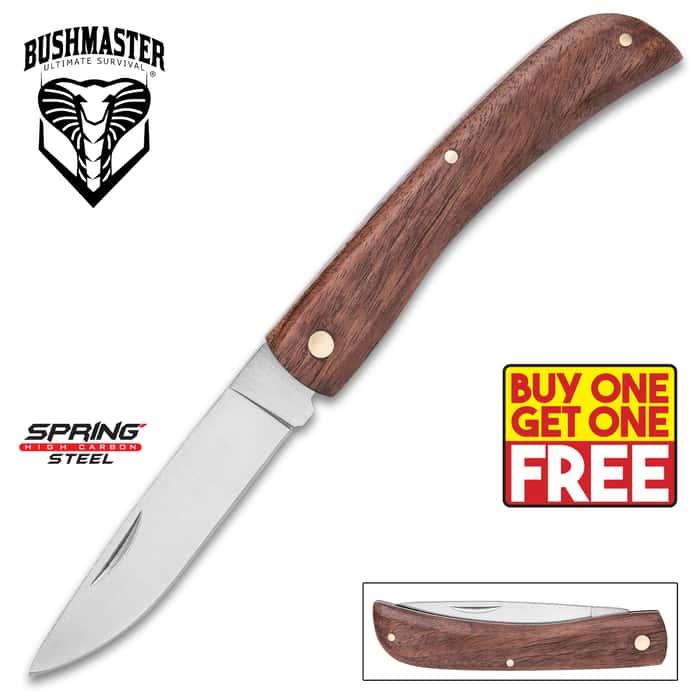 Bushmaster Bushcraft Field Folder / Pocket Knife - Carbon Steel - Solid Hardwood - Simple, No-Frills Design; Rock-Solid Reliability - Outdoors; Camping; Everyday Carry - BOGO
