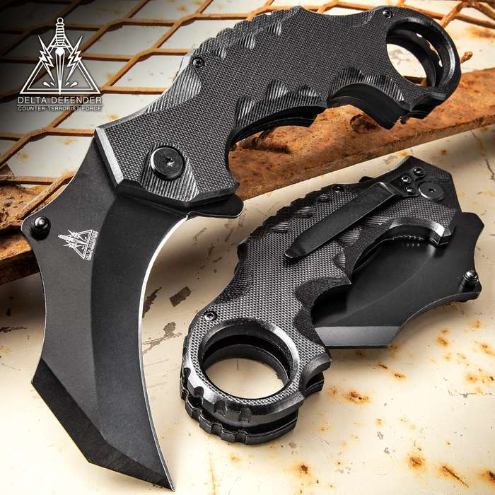 Delta Defender Assisted Opening Black Karambit Knife - Stainless Steel Blade, Non-Reflective Coating, G10 Handle Scales, Pocket Clip