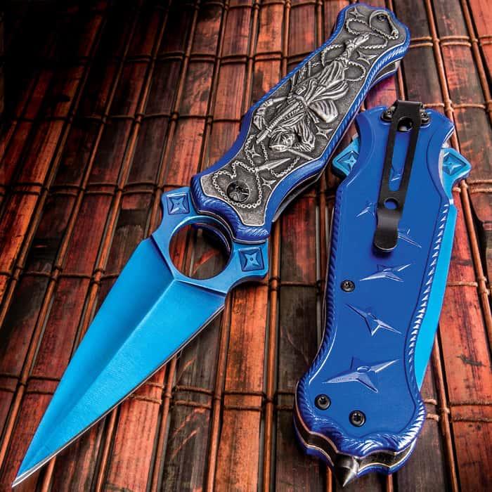 Midnight Ninja Assisted Opening Pocket Knife - Stainless Steel Dagger Blade, Aluminum Handle, 3D Relief Artwork, Glass Breaker