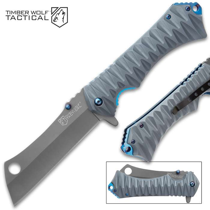 Timber Wolf Tactical Grey Assisted Opening Pocket Knife - Stainless Steel Blade, Ridged TPU Handle, Pocket Clip, Lanyard Hole