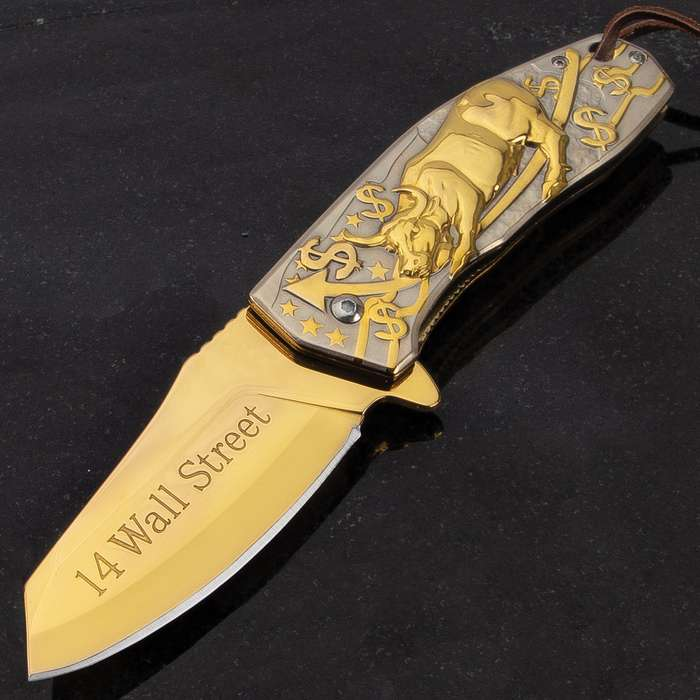 Golden Bull Assisted Opening Pocket Knife - Titanium Coated Stainless Steel Blade, Embossed Steel Handle, Pocket Clip, Lanyard