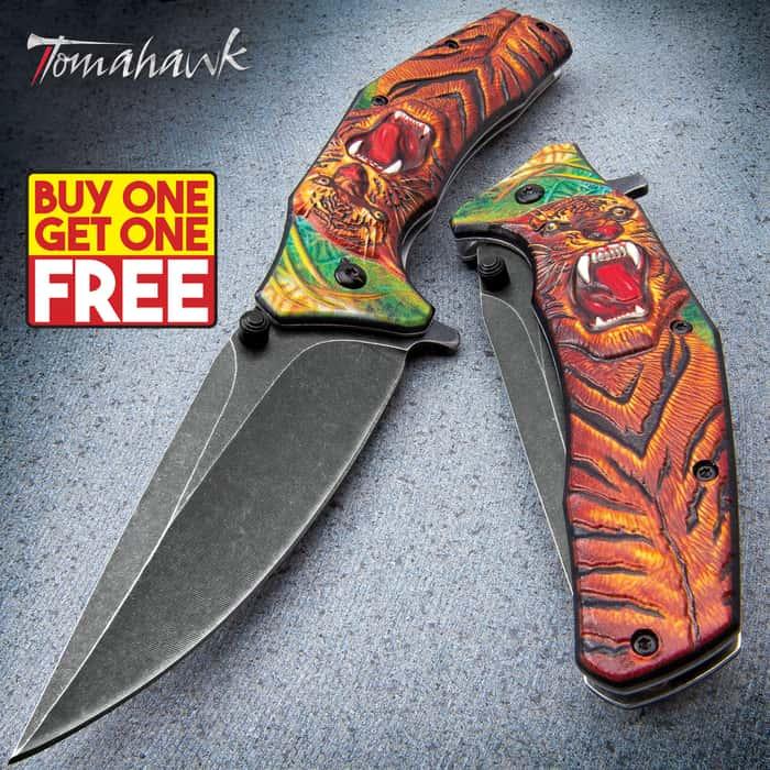 Tiger Stalker Assisted Opening Pocket Knife - Stonewashed Stainless Steel Blade, Sculpted TPU Handle Scale, Pocket Clip - BOGO