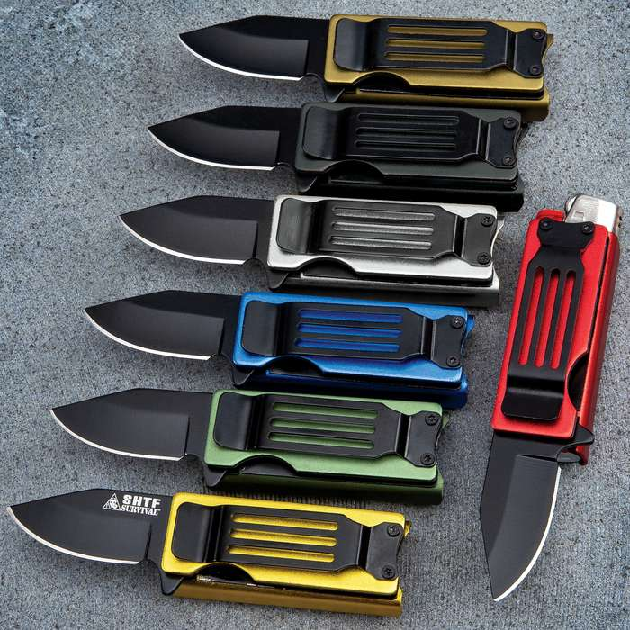 Lighter Caddy Pocket Knife - Black Stainless Steel Blade, Black Aluminum Handle, Assisted Opening - Closed Length 2 1/2""