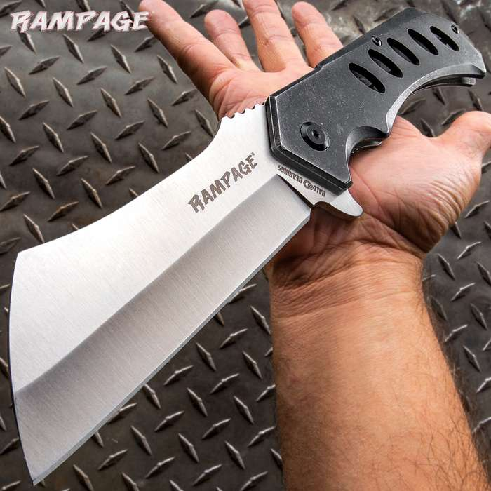"""Rampage Stonewashed Cleaver Pocket Knife - Stainless Steel Blade, Ball Bearing Assisted Opening, Stainless Steel Handle - Length 12"""""""