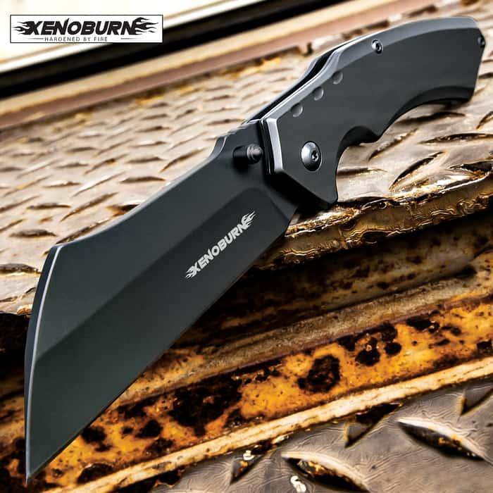 Xenoburn Tactical Assisted Open Pocket Knife CLEAVER RAZOR FOLDING Blade Gunmetal