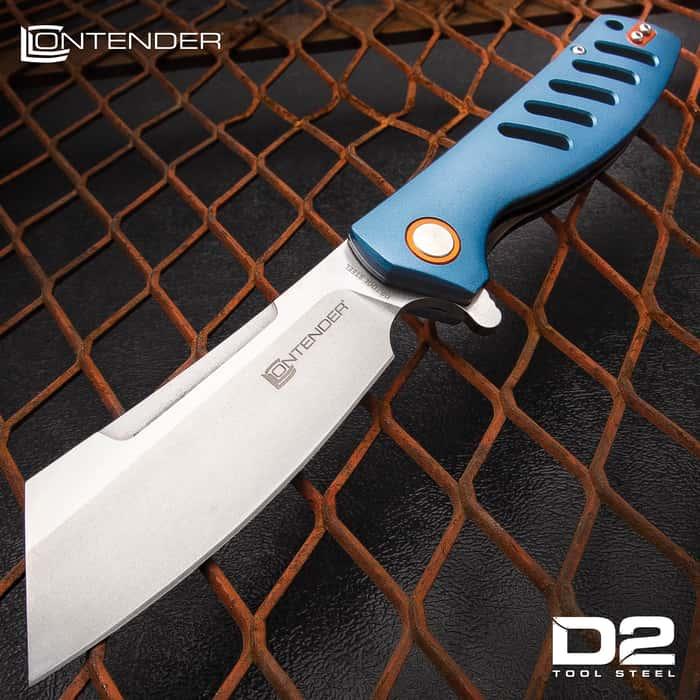 "Contender Guillotine Advanced Ball Bearing Pocket Knife - D2 Tool Steel Blade, Aluminum Handle, Pocket Clip - Closed Length 5"""