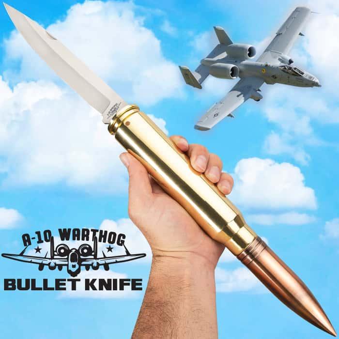 "A-10 Warthog Bullet Pocket Knife - 30MM Caliber Round, Stainless Steel Blade, Antiqued Brass Case Construction - Length 19 1/2"""