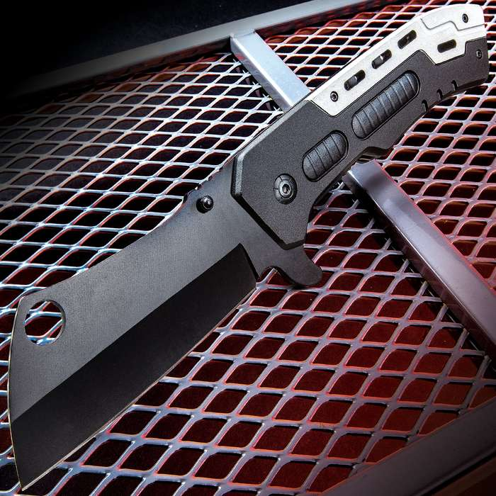 """Goliath Cleaver Pocket Knife - Stainless Steel Blade, Non-Reflective Finish, Aluminum Handle, Pocket Clip - Length 9 1/2"""""""