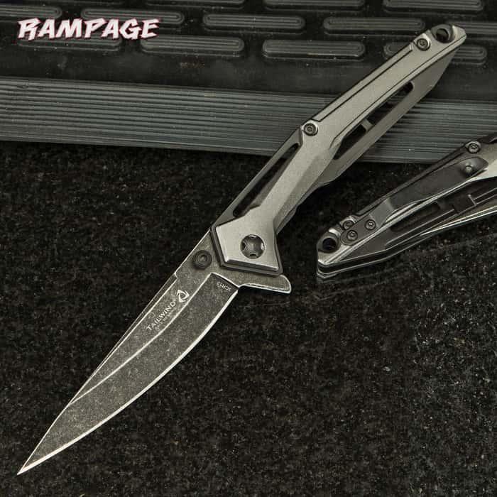 Rampage Tailwind Stonewashed Pocket Knife - Stainless Steel Blade, Aluminum Handle, Ball Bearing Opening, Pocket Clip