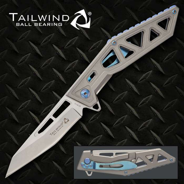 Rampage Tailwind Skeletonized Pocket Knife - Stainless Steel Blade, Steel Handle, Ti-Coated, Ball Bearing Opening, Pocket Clip