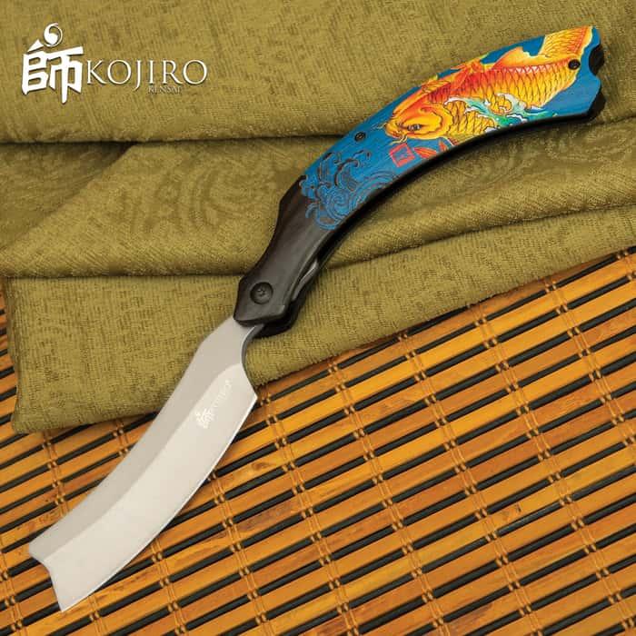 "Kojiro Golden Koi Pocket Razor - Stainless Steel Blade, Titanium Finish, Wooden Handle Scales, 3D Printed Artwork - Closed 7 1/2"""